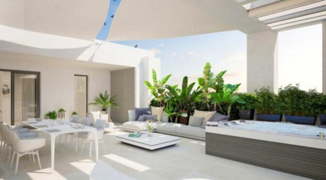 imponujący rozmachem taras przy ekskluzywnym apartamencie na sprzedaż Hiszpania (Costa Del Sol, Estepona)
