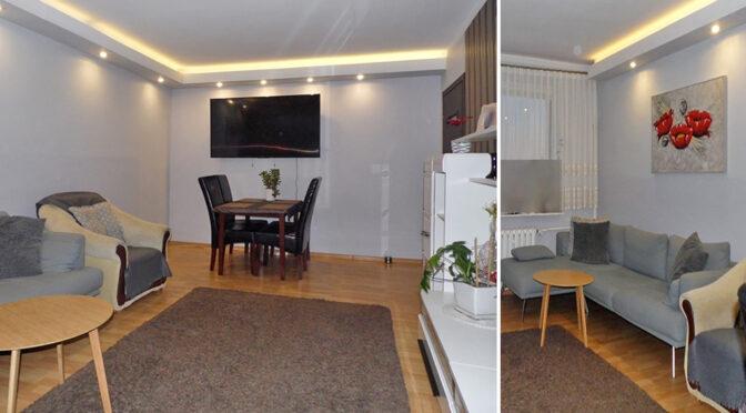 efektowne oświetlenie salonu w ekskluzywnym apartamencie na sprzedaż Malbork