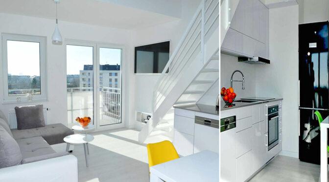 zaprojektowane w bieli, w nowoczesnym designie wnętrze ekskluzywnego apartamentu na sprzedaż Szczecin