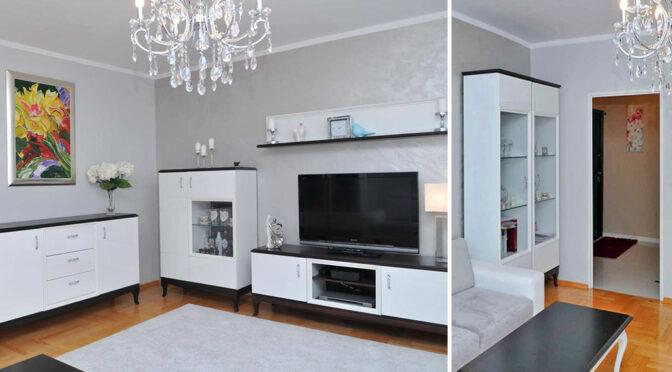 stylowe wnetrze ekskluzywnego salonu w luksusowym apartamencie na sprzedaż Szczecin