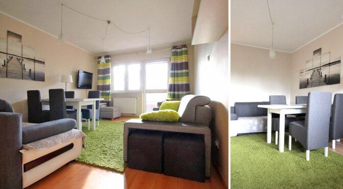 dwa ujęcia salonu w luksusowym apartamencie na wynajem Szczecin