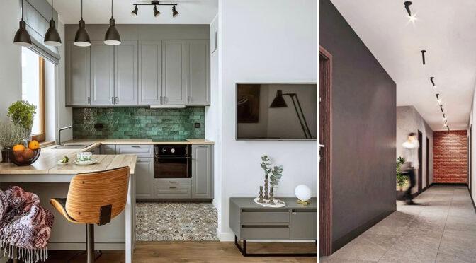 po lewej aneks kuchenny, po prawej hol w luksusowym apartamencie do sprzedaży Legnica