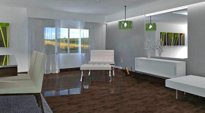 zaprojektowane w nowoczesnym stylu wnętrze salonu w luksusowym apartamencie do sprzedaży Ustroń