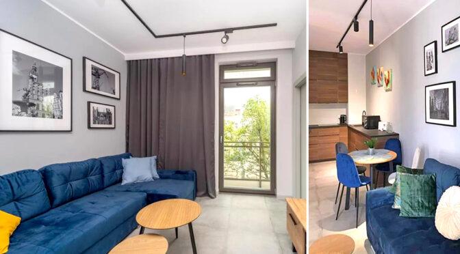 nowoczesny aranż salonu w ekskluzywnym apartamencie do wynajęcia Gdańsk