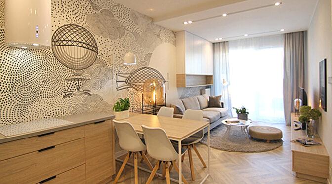 stylowo zaaranżowany pokój dzienny w luksusowym apartamencie do wynajęcia Wieluń