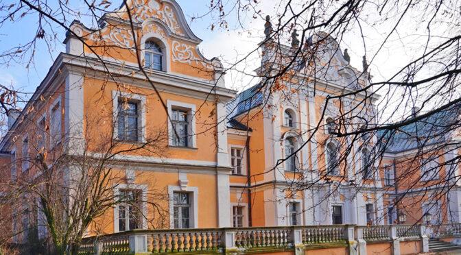 widok od strony ulicy na luksusowy pałac do sprzedaży Poznań
