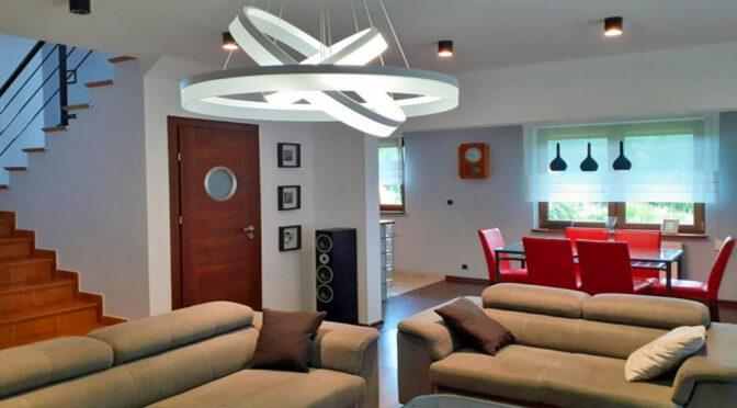 oryginalne oświetlenie wnętrza luksusowej rezydencji na sprzedaż Częstochowa (okolice)