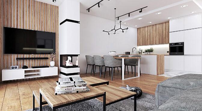 wizualizacja nowoczesnego salonu w luksusowej rezydencji do sprzedaży Legnica (okolice)