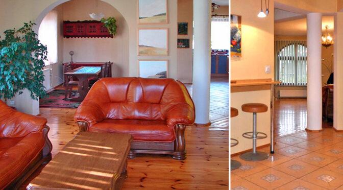 po lewej salon, po prawej aneks kuchenny w ekskluzywnej rezydencji do sprzedaży Piotrków Trybunalski (okolice)