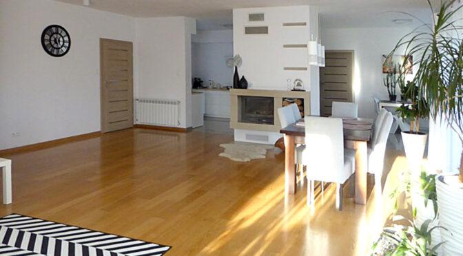 przestronny salon z kominkiem w ekskluzywnej rezydencji do sprzedaży Piotrków Trybunalski