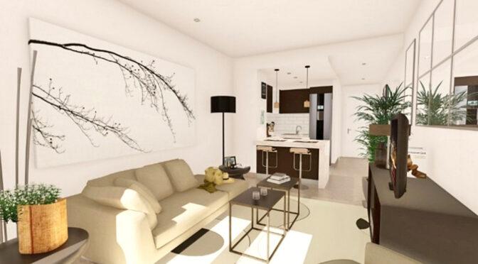 nowoczesne wnętrze salonu w luksusowym apartamencie na sprzedaż Hiszpania (Manilva, Malaga)