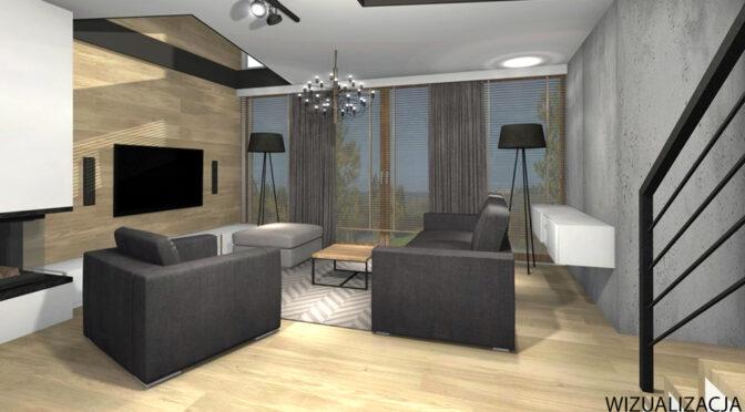 nowoczesny pokój dzienny na wizualizacji luksusowego apartamentu na sprzedaż Kwidzyn
