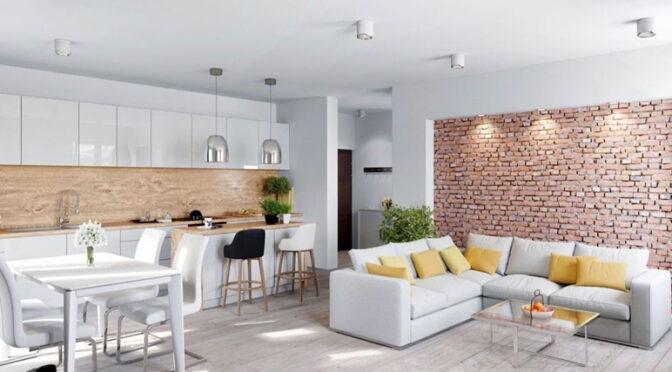 słoneczne wnętrze salonu w ekskluzywnym apartamencie na sprzedaż Legnica
