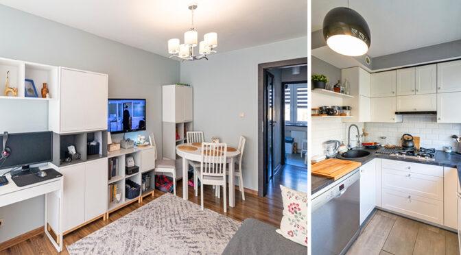 po lewej salon, po prawej kuchnia w luksusowym apartamencie na sprzedaż Lublin