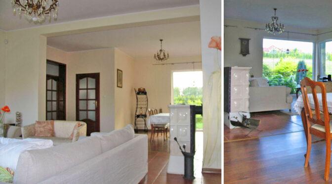 dwa ujęcia komfortowego wnętrza luksusowej rezydencji do sprzedaży Brodnica (okolice)