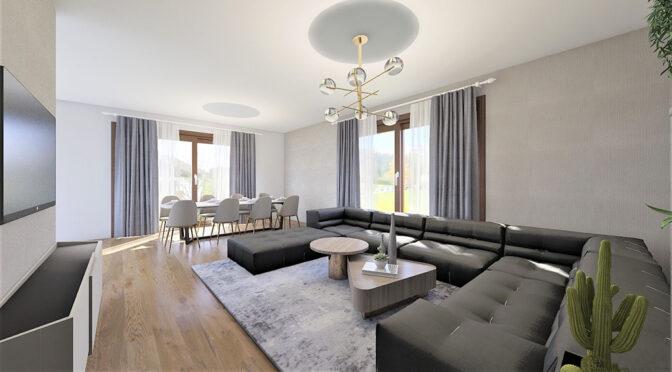 wytworne wnętrze salonu w luksusowej rezydencji do sprzedaży Częstochowa (okolice)