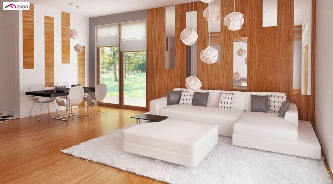 wizualizacja nowoczesnego salonu w ekskluzywnej rezydencji do sprzedaży Kalisz