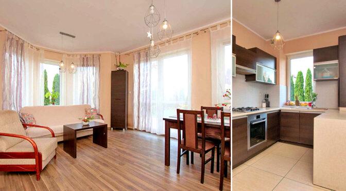 po lewej stylowy salon, po prawej zabudowana kuchnia w ekskluzywnej rezydencji do sprzedaży Poznań (okolice)