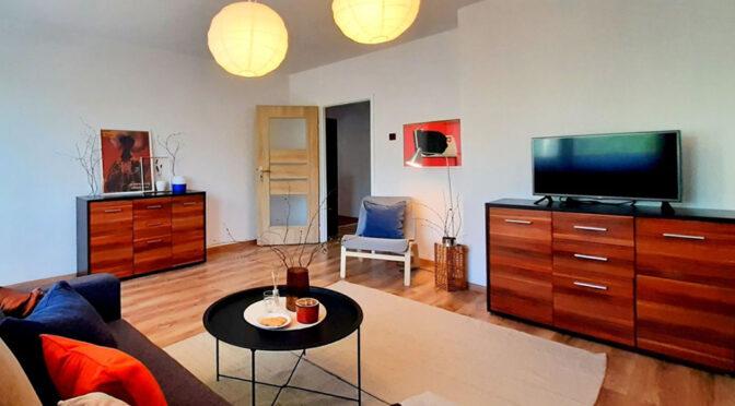 nowoczesna aranżacja pokoju dziennego w luksusowym apartamencie do wynajmu Legnica (okolice)