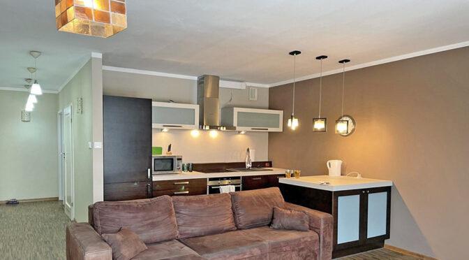 widok z salonu na aneks kuchenny w luksusowym apartamencie do wynajmu Wrocław