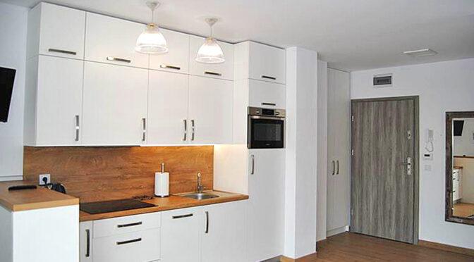 pokój dzienny oraz kuchnia w luksusowym apartamencie do wynajęcia Zgorzelec