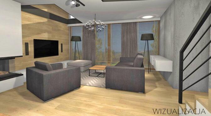 wizualizacja prezentuje przykładową aranżację nowoczesnego wnętrza luksusowego apartamentu do sprzedaży Kwidzyn