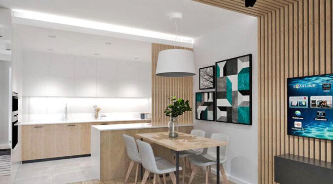 wizualizacja prezentuje komfortowe wnętrze salonu w ekskluzywnym apartamencie do sprzedaży Ostrów Wielkopolski