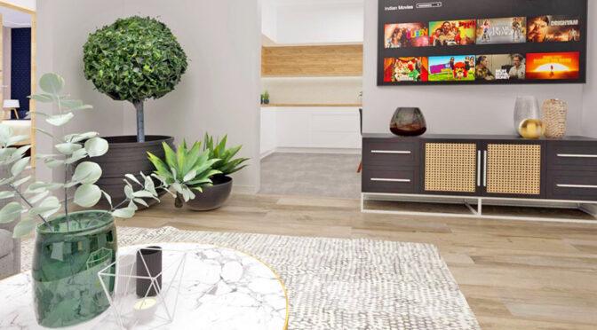 wizualizacja prezentująca salon w ekskluzywnym apartamencie do sprzedaży Radomsko