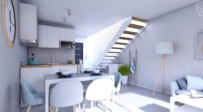 2-poziomowe wnętrze ekskluzywnego apartamentu do sprzedaży nad morzem