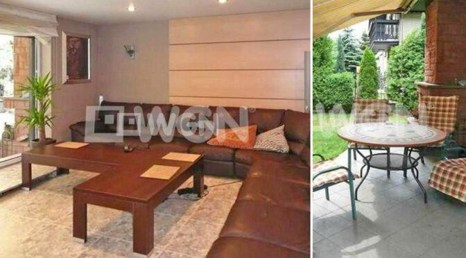 po lewej salon, po prawej taras przy luksusowej rezydencji na sprzedaż Katowice