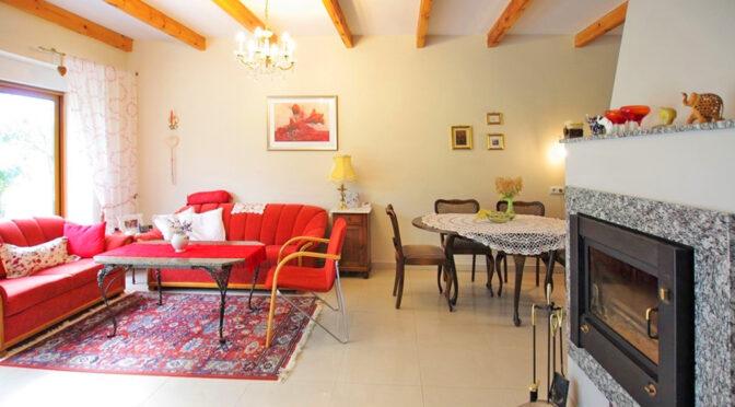 widok na kominek w salonie luksusowej rezydencji na sprzedaż Rawicz (okolice)