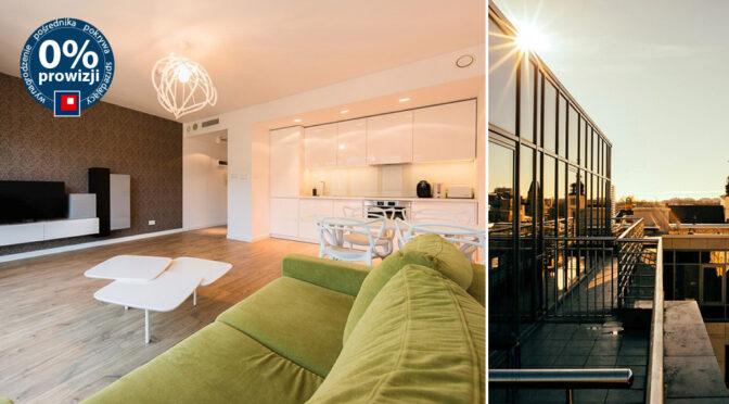 po lewej salon, po prawej taras przy luksusowym apartamencie na wynajem Wrocław