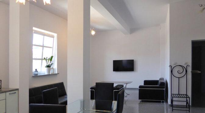 minimalistyczny design pokoju dziennego w ekskluzywnym apartamencie na wynajem Mazury