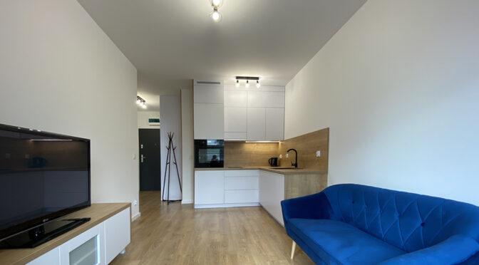 widok z salonu na aneks kuchenny w ekskluzywny apartamencie na wynajem Szczecin