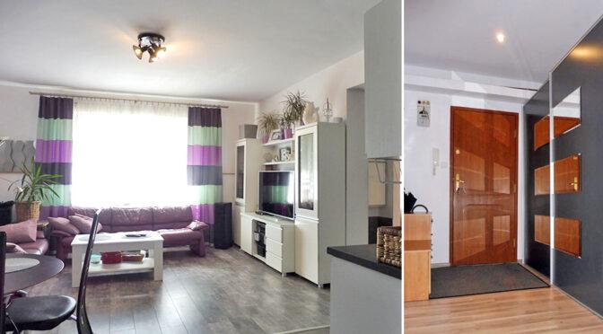 po lewej salon, po prawej hol w luksusowym apartamencie do sprzedaży Mazury