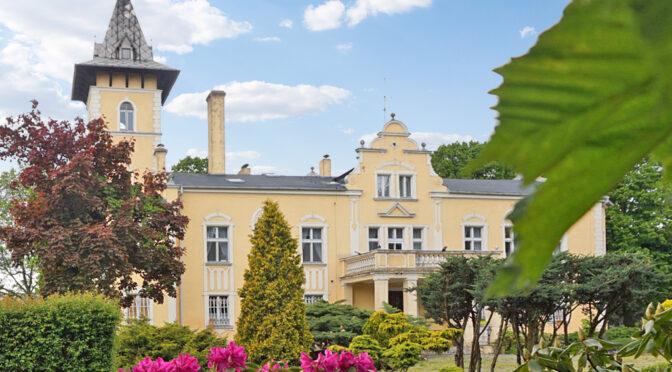 frontowa elewacja luksusowego pałacu do sprzedaży Wielkopolska
