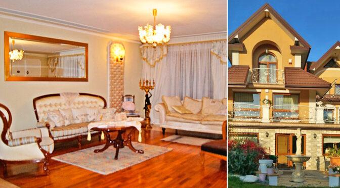 po lewej salon, po prawej bryła luksusowej rezydencji na sprzedaż Częstochowa
