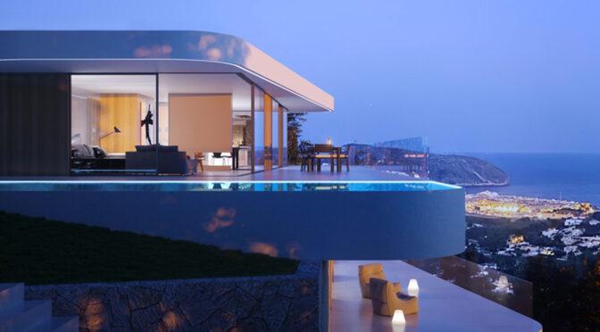 widok nocą na ekskluzywną rezydencję z basenem do sprzedaży Hiszpania (Moraira)