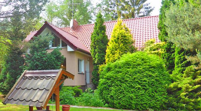 widok od strony ogrodu na luksusową rezydencję na sprzedaż Kwidzyn