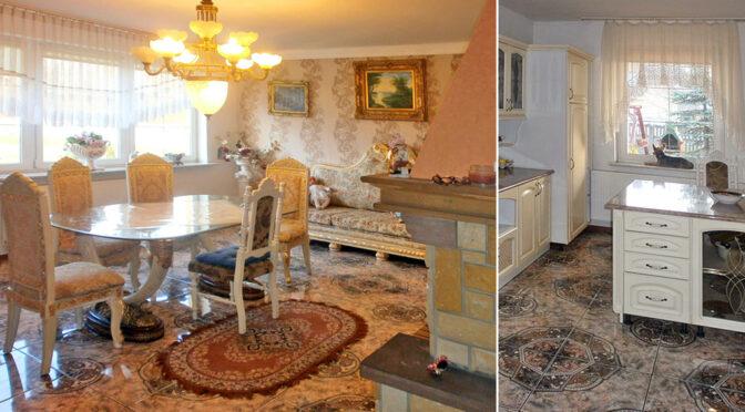 po lewej stylowy salon, po prawej kuchnia w luksusowej rezydencji do sprzedaży Częstochowa
