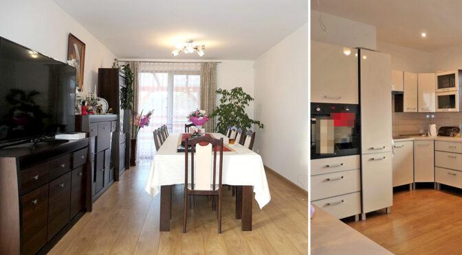 po lewej salon, po prawej kuchnia w luksusowej rezydencji do sprzedaży Kwidzyn