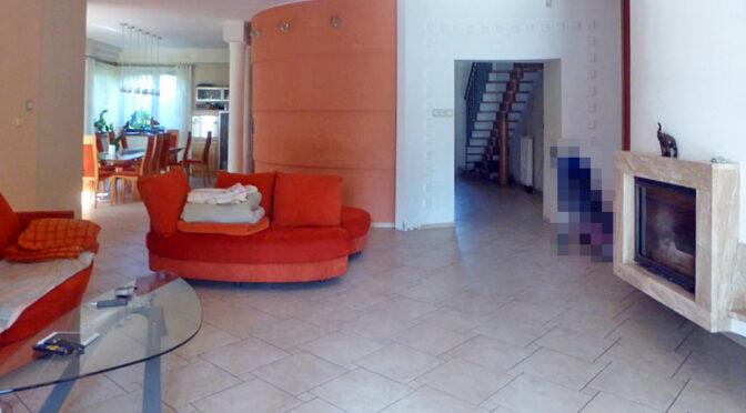 salon z kominkiem w luksusowej rezydencji do sprzedaży Piotrków Trybunalski