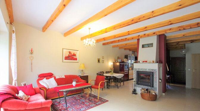słoneczny pokój dzienny z kominkiem w ekskluzywnej rezydencji do sprzedaży Rawicz (okolice)