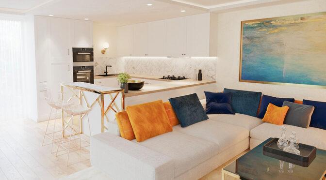 eleganckie wnętrze salonu w luksusowej rezydencji do sprzedaży Ustroń
