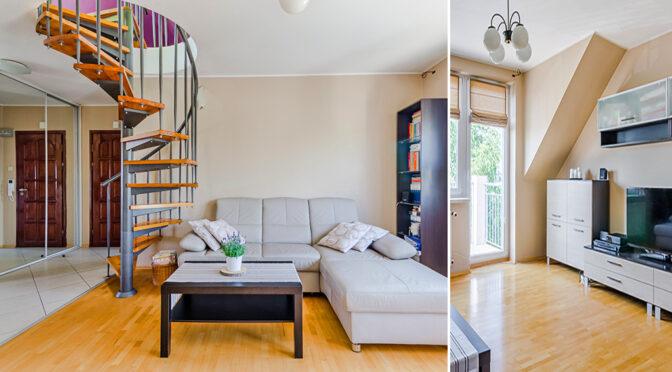 rozplanowane na dwóch poziomach wnętrze luksusowego apartamentu na sprzedaż Gdańsk