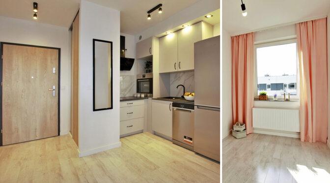 eleganckie wnętrze salonu i kuchni w luksusowym apartamencie na sprzedaż Poznań