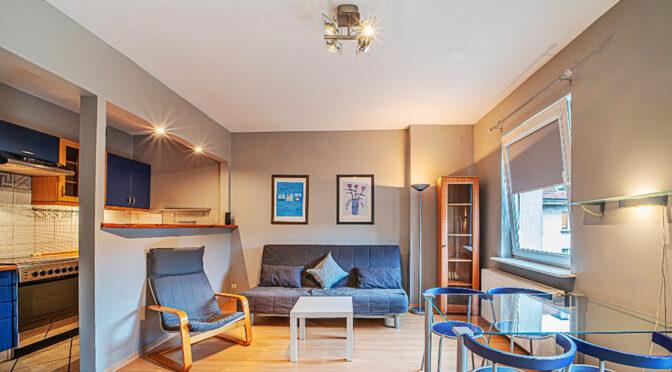 kameralnie zaaranżowany salon w ekskluzywnym apartamencie na wynajem Bolesławiec