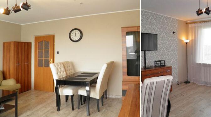 po lewej salon, po prawej kuchnia w ekskluzywnym apartamencie do wynajmu Szczecin