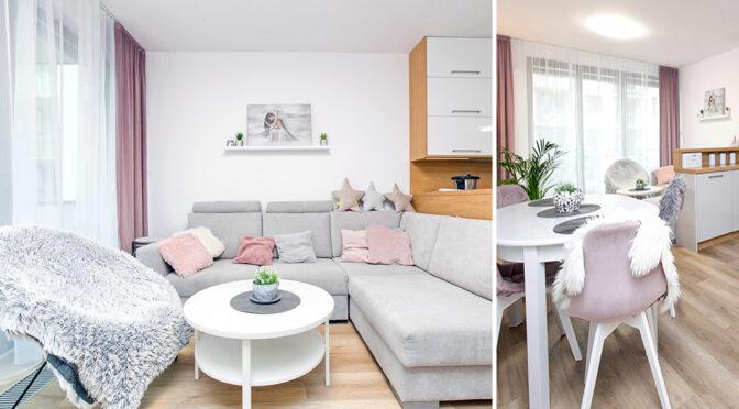 po lewej salon, po prawej jadalnia w luksusowym apartamencie do sprzedaży Gdańsk