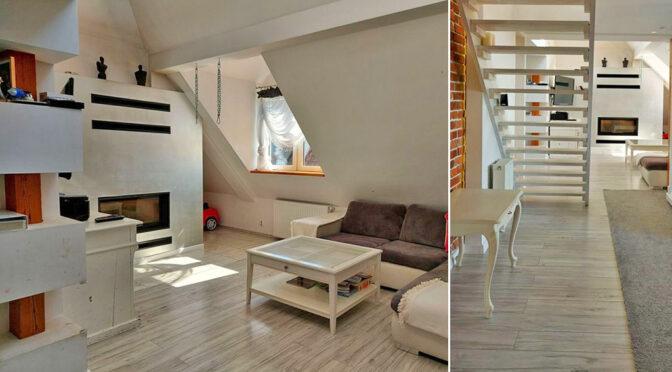 po lewej salon, po prawej hol w luksusowym apartamencie do sprzedaży Legnica (okolice)